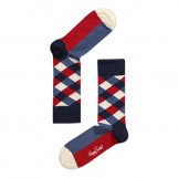 Square socks blue red