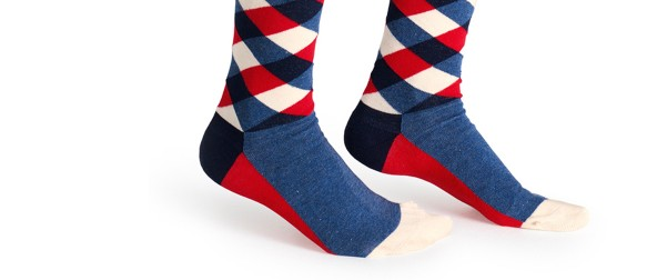 Square socks blue red1273-5879