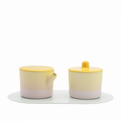 s.b. 33 set milk & sugar light blue pink yellow