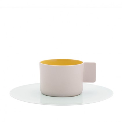 s.b. 49 cup and saucer yellow pink light blue white