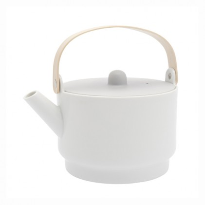 s.b. 55 tea pot white glazed grey